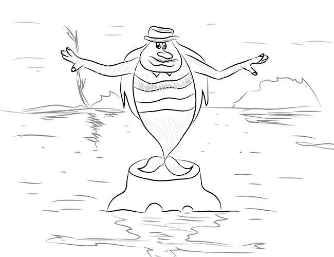 как нарисовать водяного поэтапно