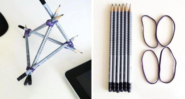 как сделать подставку для телефона из карандашей