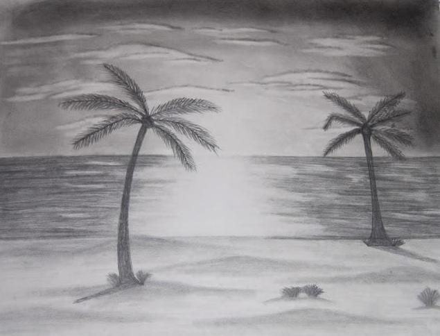 как нарисовать пляж и море