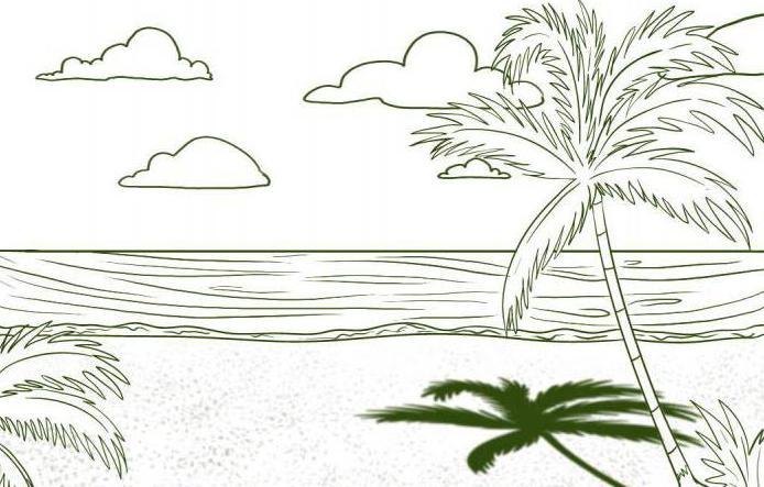 как нарисовать море и пляж карандашом поэтапно