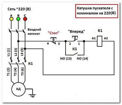 Подключение трёхкнопочного поста реверсивномумагнитному пускателю