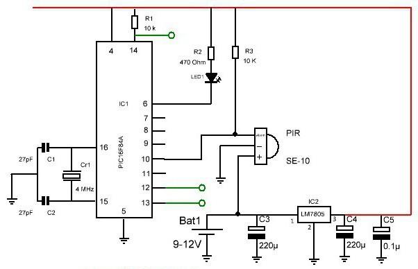 датчики движения для включения света схема подключения