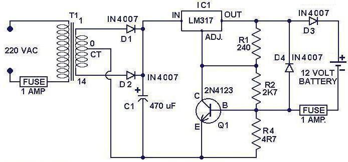 Пуско зарядное устройство для автомобильного аккумулятора схема