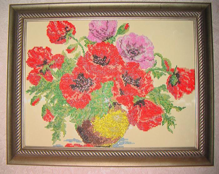 картина из бисера на стекле