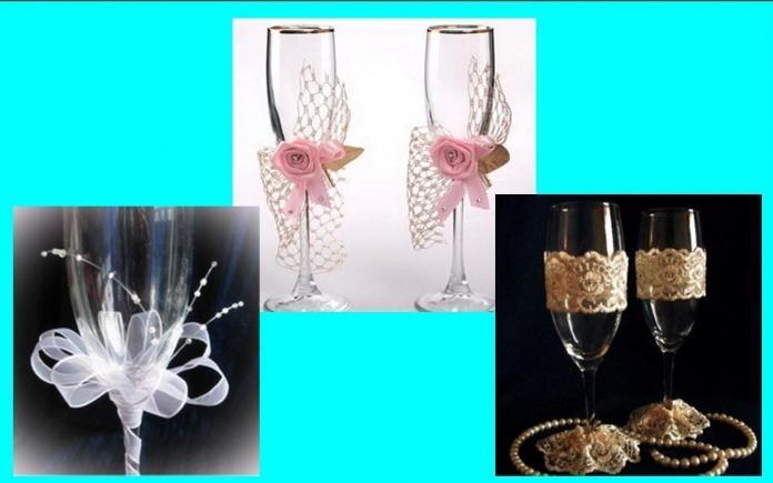 Как сделать свадебные бокалы своими руками — несколько разных…