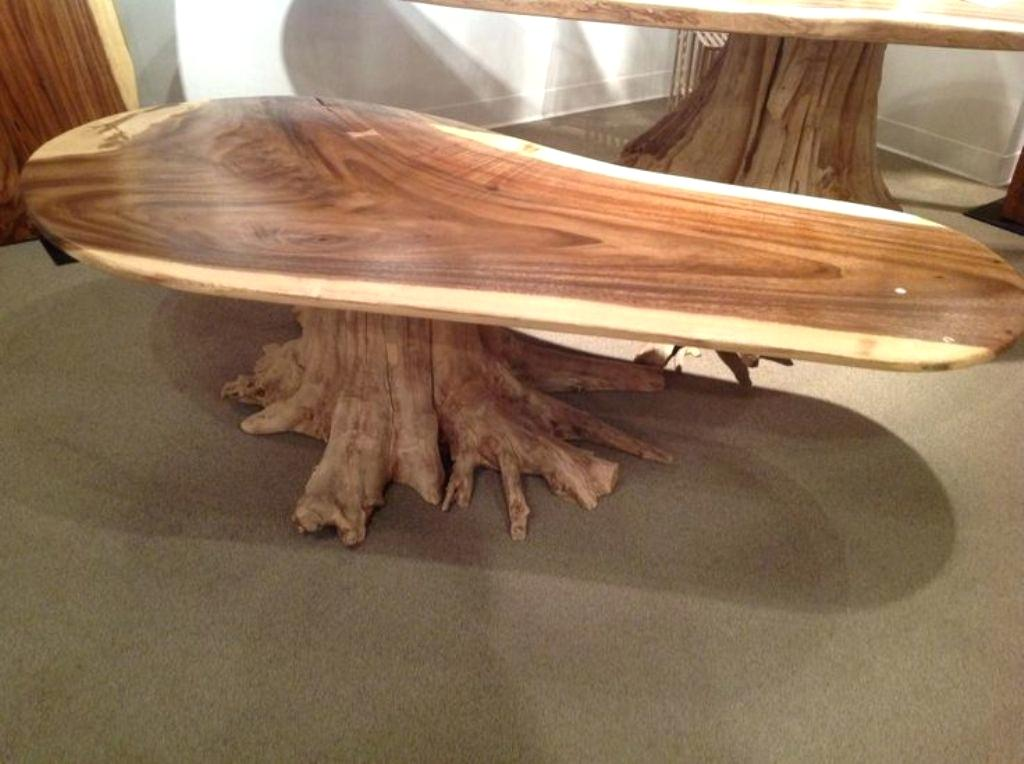 Table made of wood cut on a stem from a trunk
