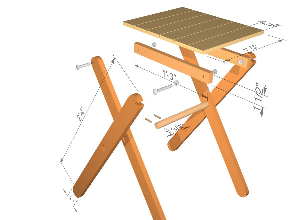 Folding table assembly drawing