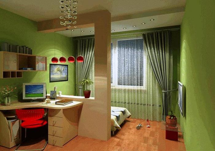 Спальная комната и детская в одной комнате. гостиная и де....
