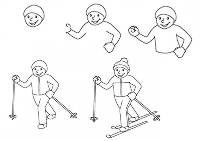 Рисунок лыжника в движении карандашом