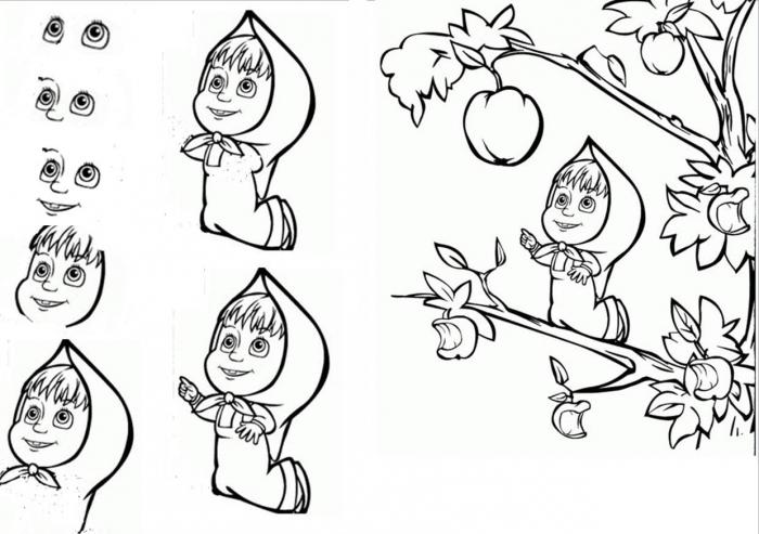 "... -класс ""Как рисовать Машу и Медведя: fb.ru/article/144509/master-klass-kak-risovat-mashu-i-medvedya"