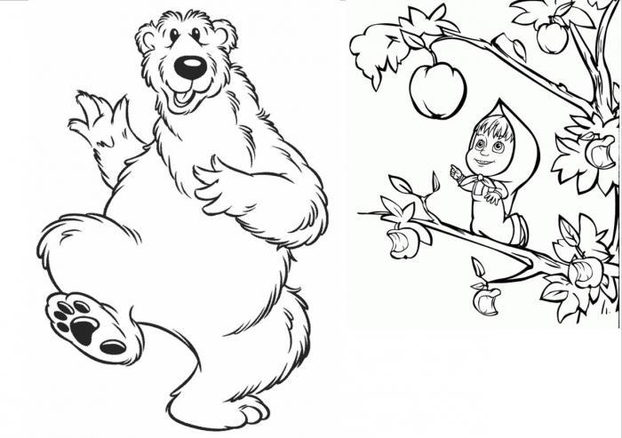 Маша и медведь рисунок карандашом из мультика