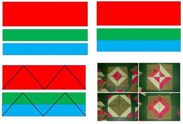 схемы составления квадратов из полос для пэчворка