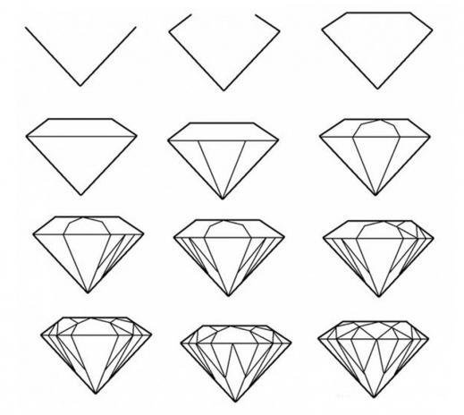 как поэтапно нарисовать алмаз