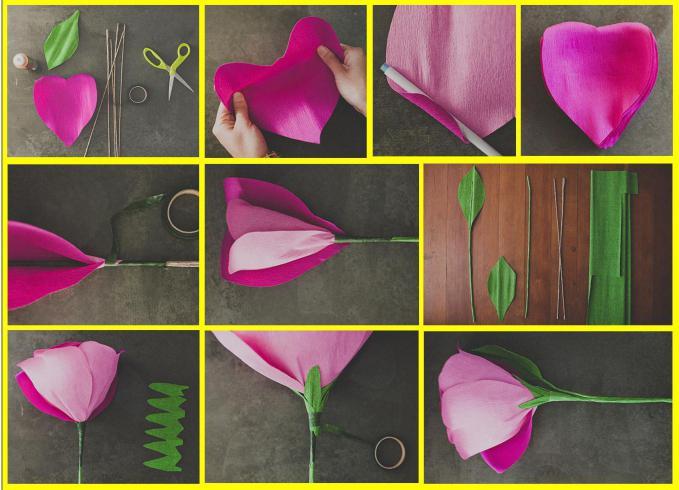 большой объёмный цветок из гофрированной бумаги