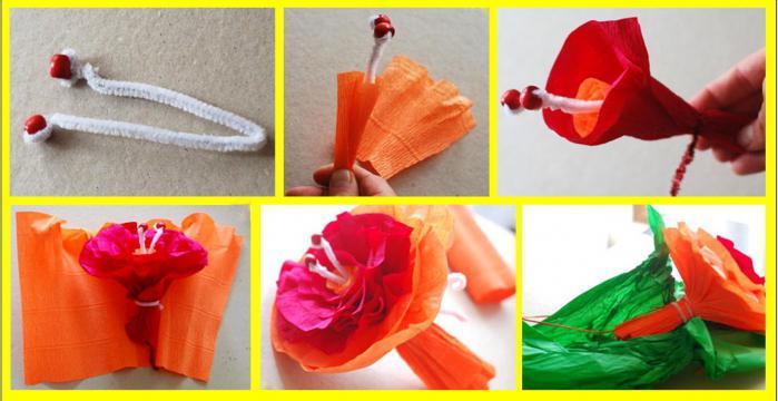 сделать цветы из бумаги большие