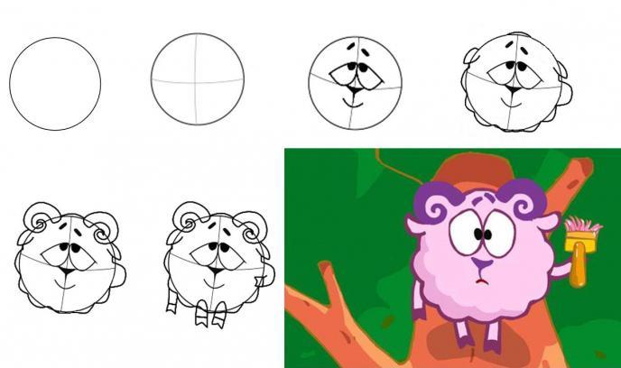 как нарисовать смешариков карандашом