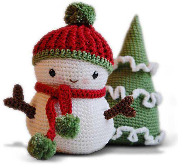 снеговик крючком для начинающих