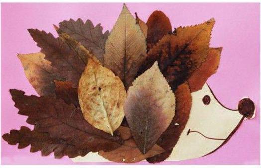 ежик из листьев аппликация