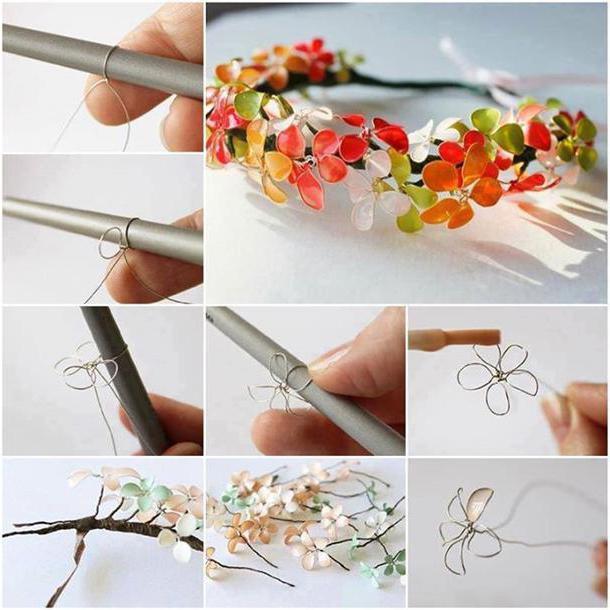 как сделать цветок из лака и проволоки