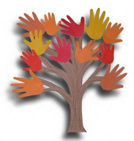 аппликация дерево из ладошек