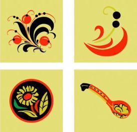 рисование элементов хохломской росписи