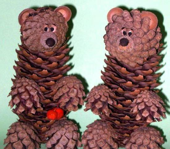 поделка из шишек медведь