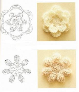 Объемные цветы крючком схемы и 12