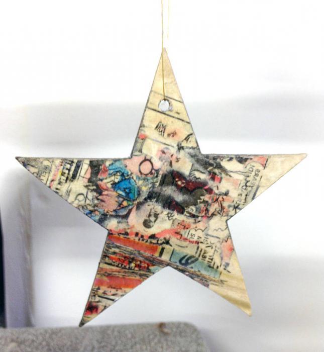 как сделать звезду на елку из картона