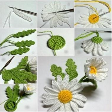 вязание объемных цветов крючком