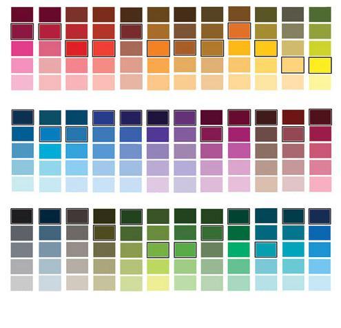 таблицы смешивания красок [