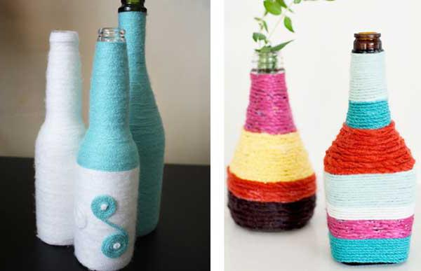 ваза из стеклянной бутылки своими руками из ниток