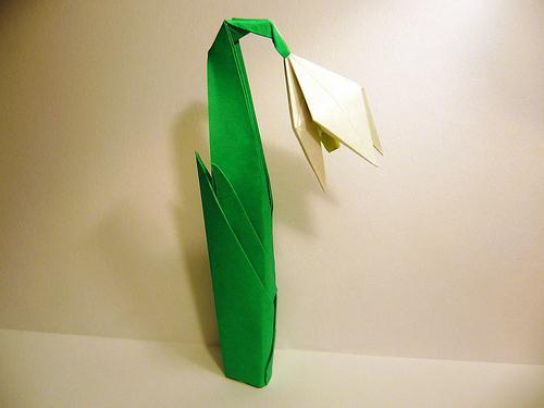 подснежники из бумаги своими руками оригами