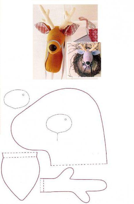 выкройка игрушки оленя