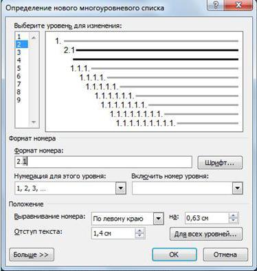 информатика многоуровневый список