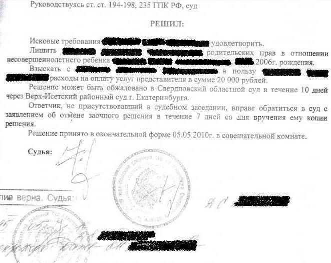 может, казахстан какие документы на лишение прав отцовства этих