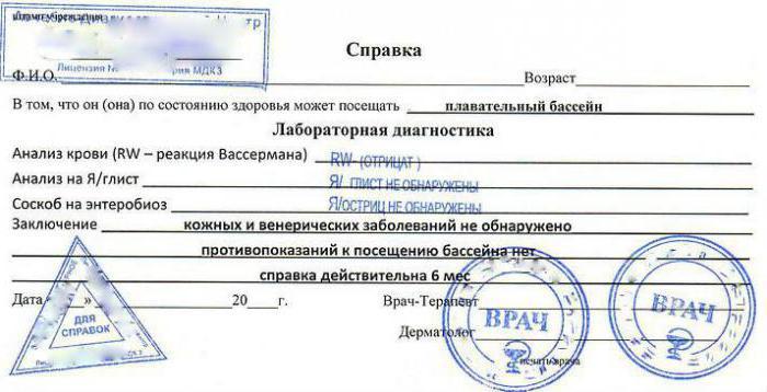 Медсправка бассейн киев медицинская справка №79-0