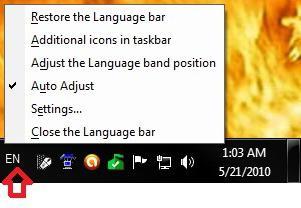 восстановление запуска и работы языковой панели в windows 7
