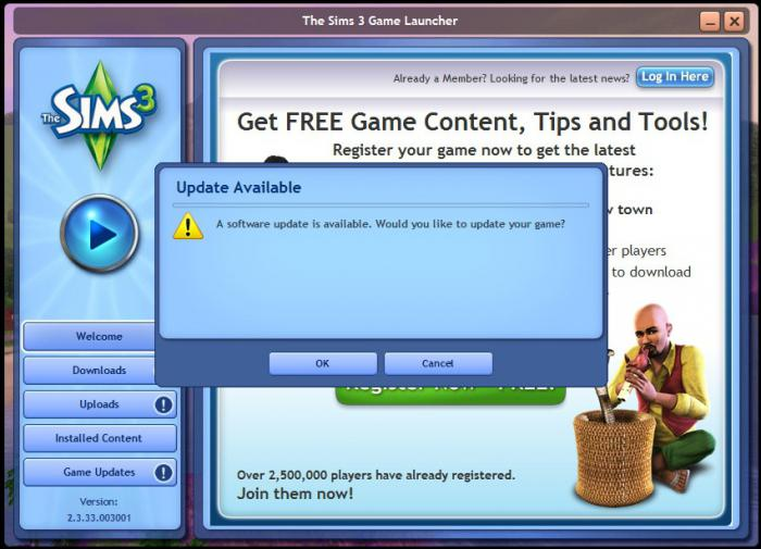 Players who need to update their copy of The Sims 3 may choose to download