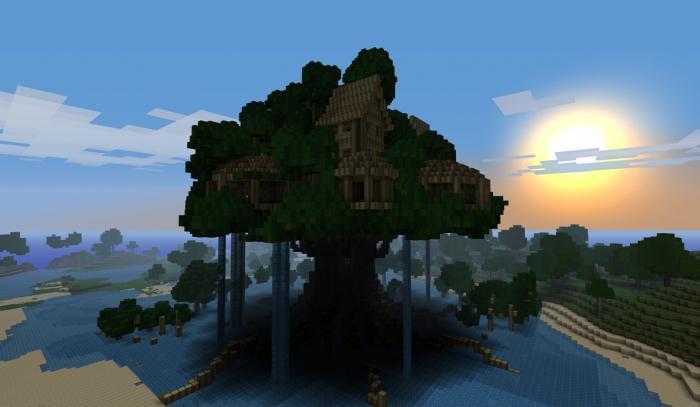 minecraft как сделать дом внутри дерева
