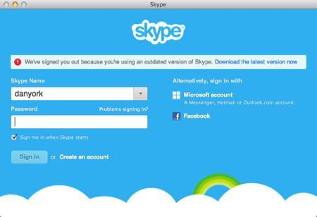 вход в скайп временно невозможен