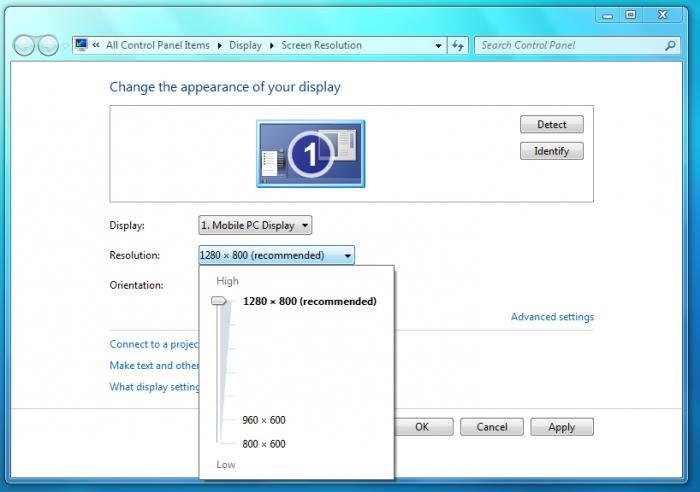 Как поменять расширение экрана в windows 7