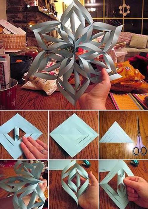как складывать бумагу для снежинок