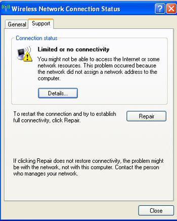 подключение ограничено или отсутствует windows xp