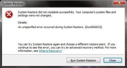 непредвиденная ошибка при восстановлении системы 0xc0000022