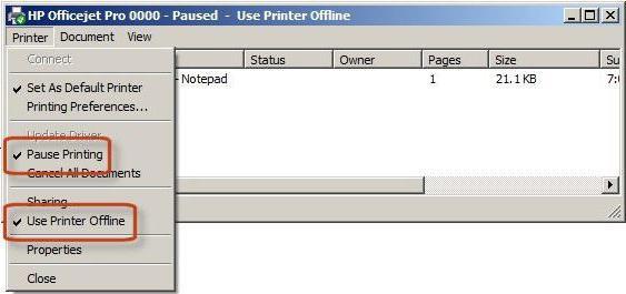 Изменить статус принтера автономный