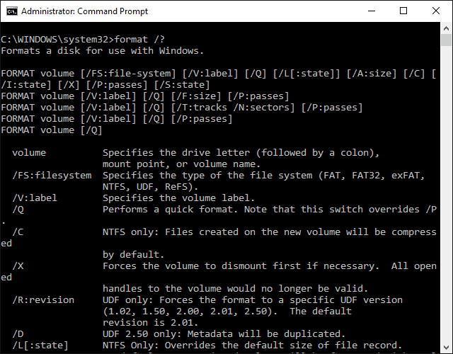 Как отформатировать диск через командную строку