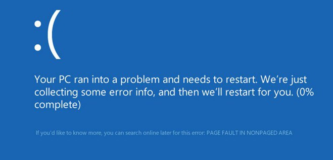 page fault in nonpaged area windows 10