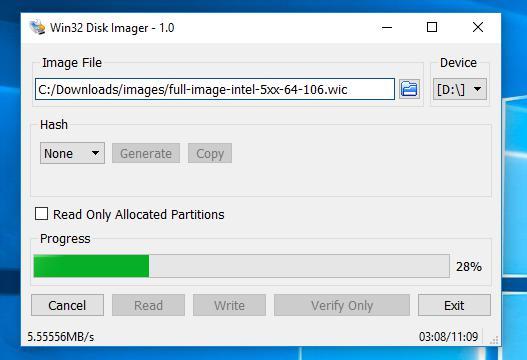 Открытие файла образа в программе Win32 Disk Imager