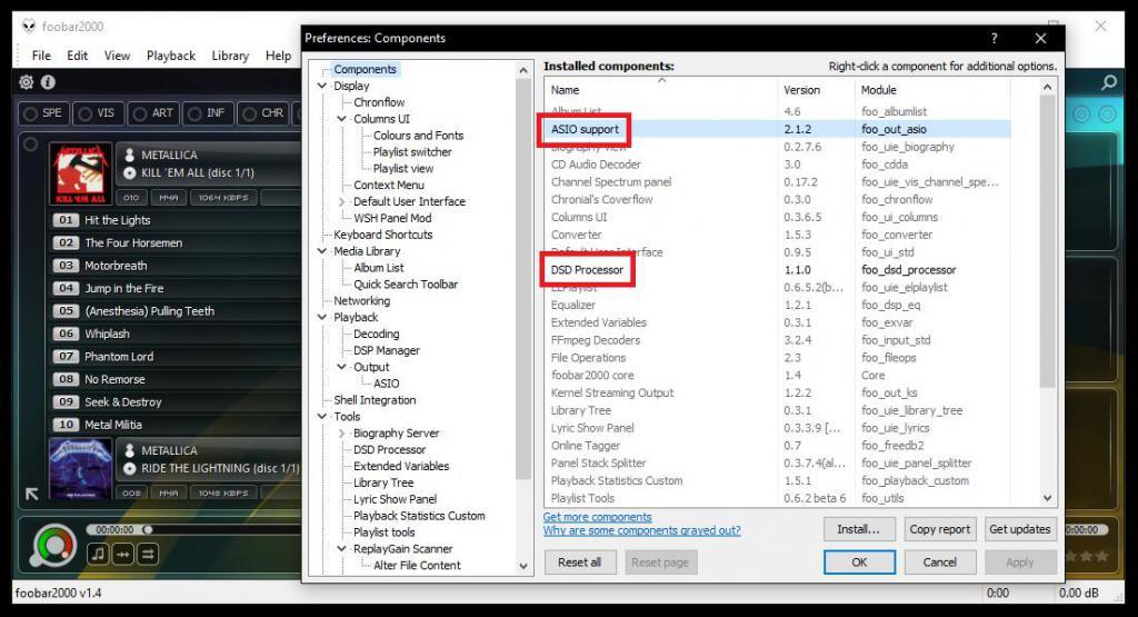 Дополнительные компоненты в плеере foobar2000