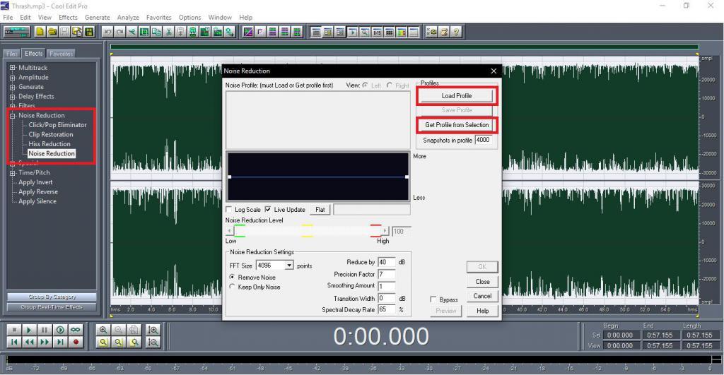 Удаление шумов в программе Cool Edit Pro